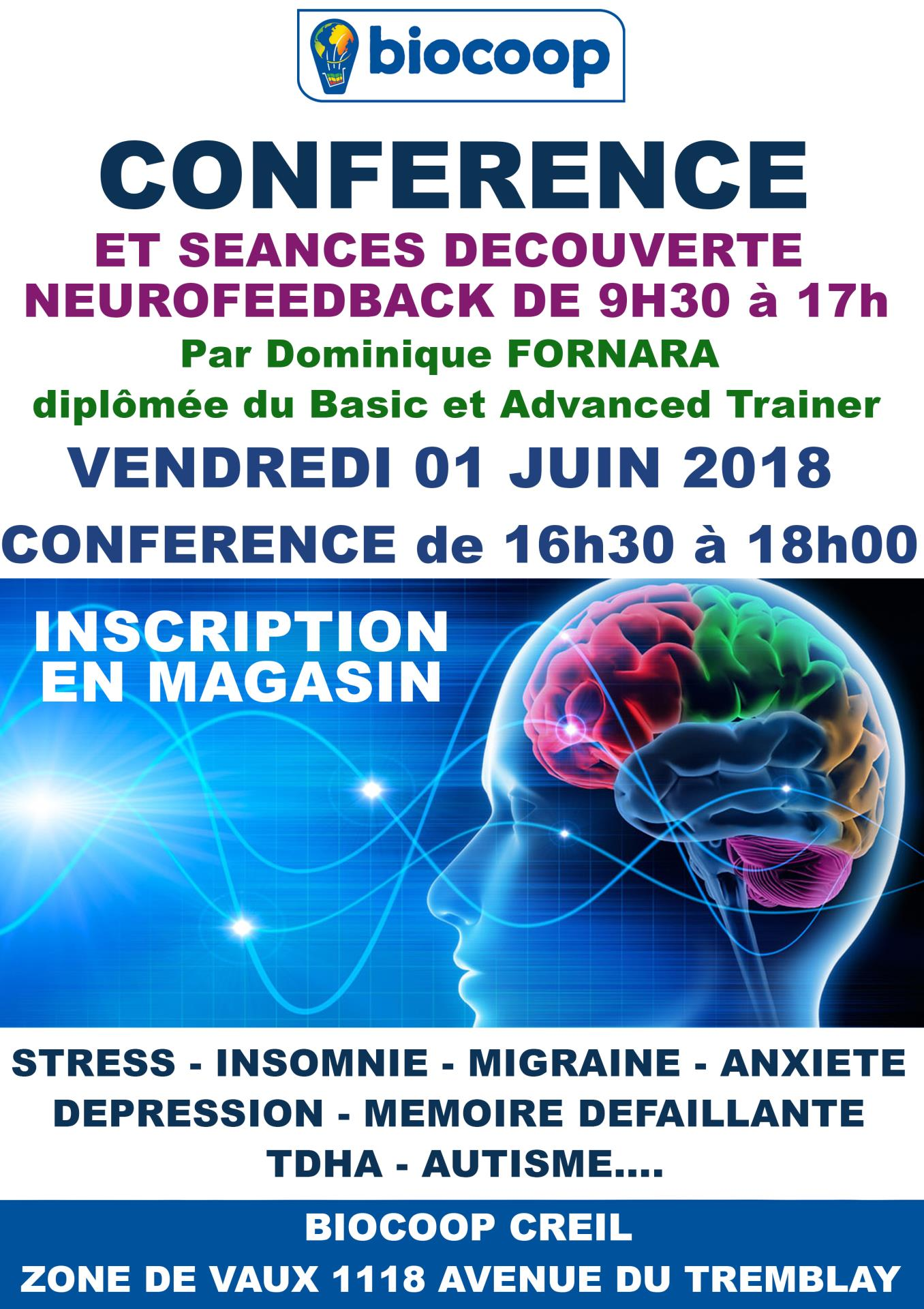 CONFERENCE NEUROFEEDBACK VILLAGE EXPO 01 ET 02 JUIN 2018
